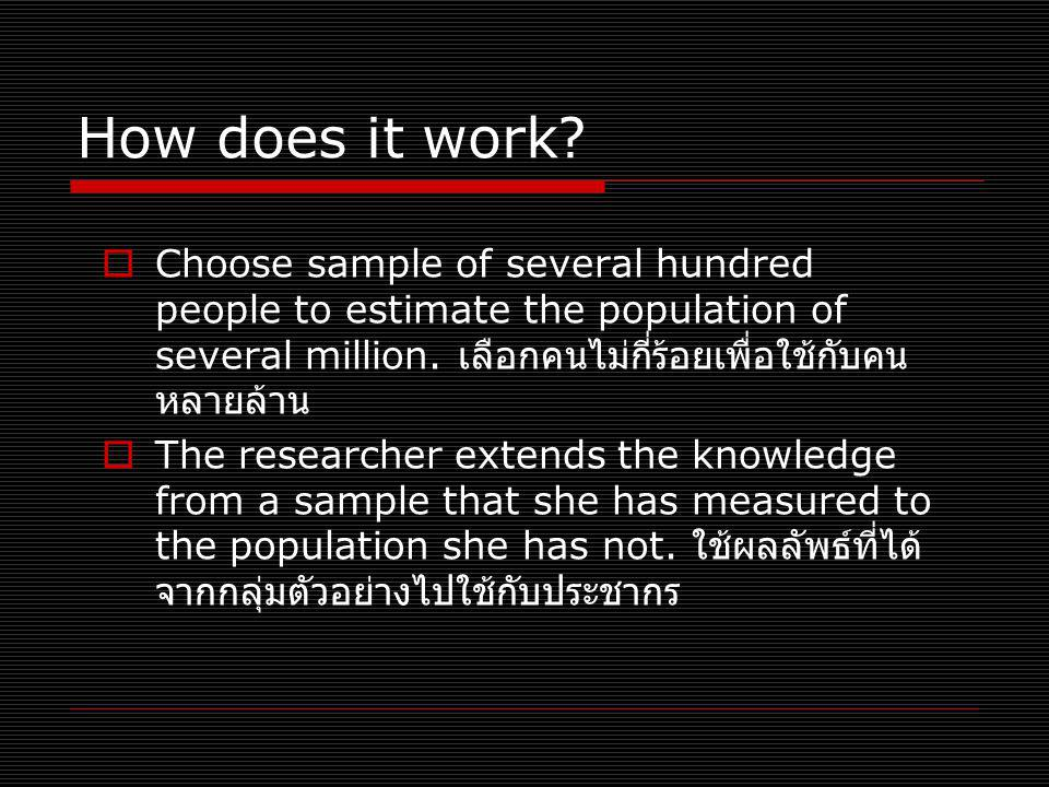 How does it work Choose sample of several hundred people to estimate the population of several million. เลือกคนไม่กี่ร้อยเพื่อใช้กับคนหลายล้าน.