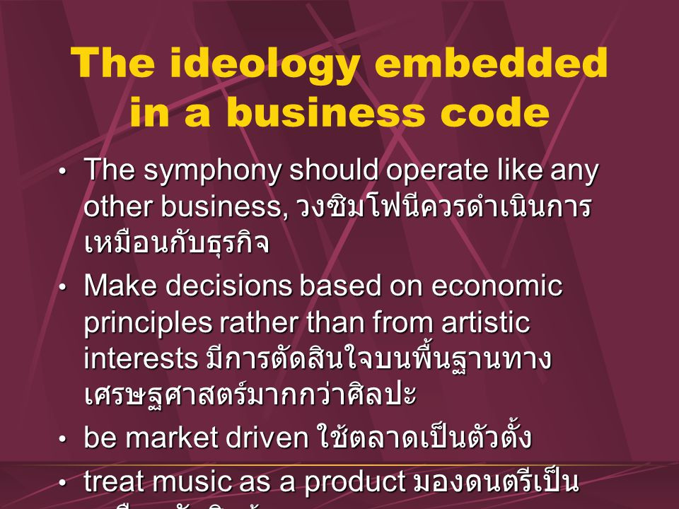 The ideology embedded in a business code