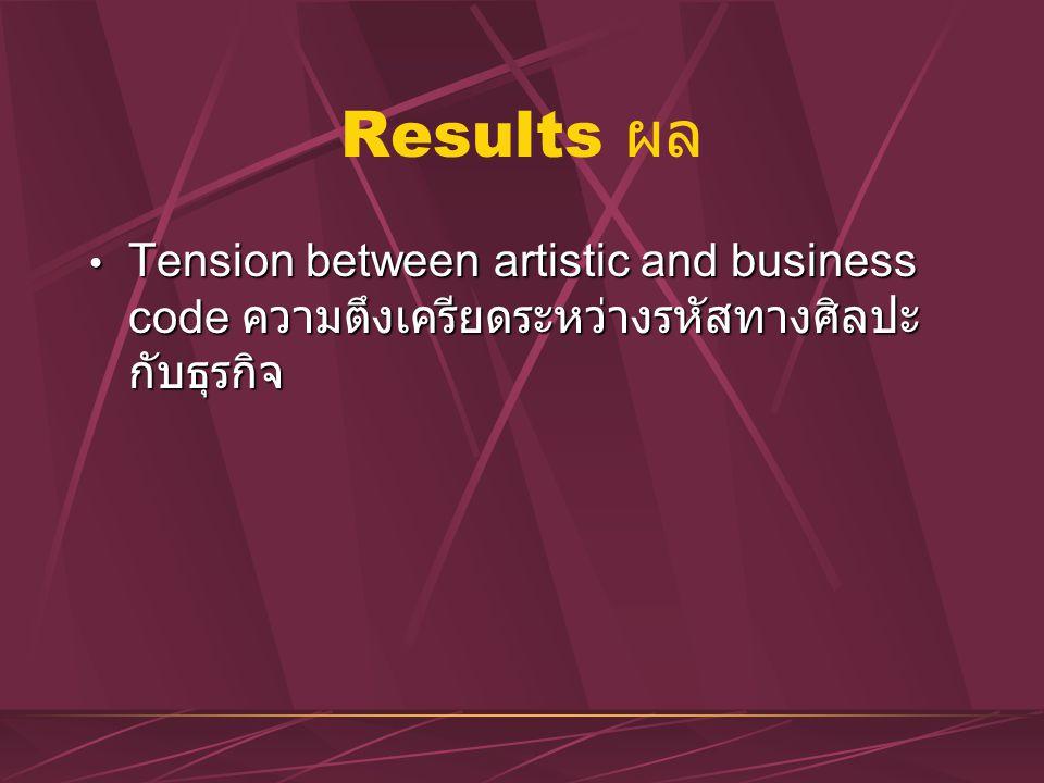 Results ผล Tension between artistic and business code ความตึงเครียดระหว่างรหัสทางศิลปะกับธุรกิจ
