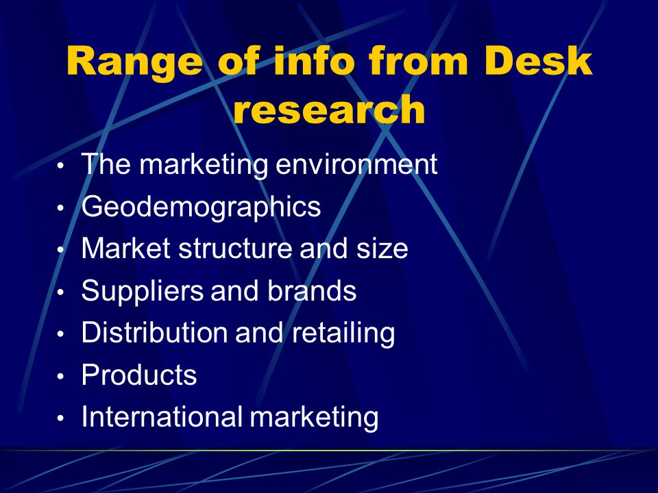 Range of info from Desk research