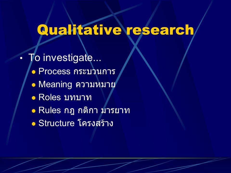 Qualitative research To investigate... Process กระบวนการ