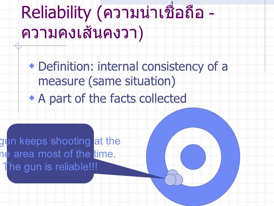 Reliability (ความน่าเชื่อถือ - ความคงเส้นคงวา)