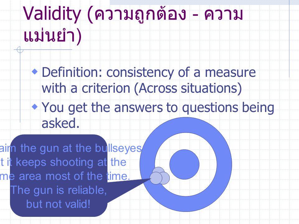 Validity (ความถูกต้อง - ความแม่นยำ)