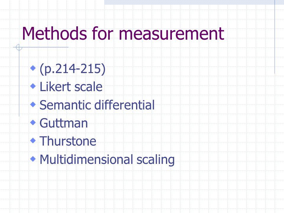 Methods for measurement