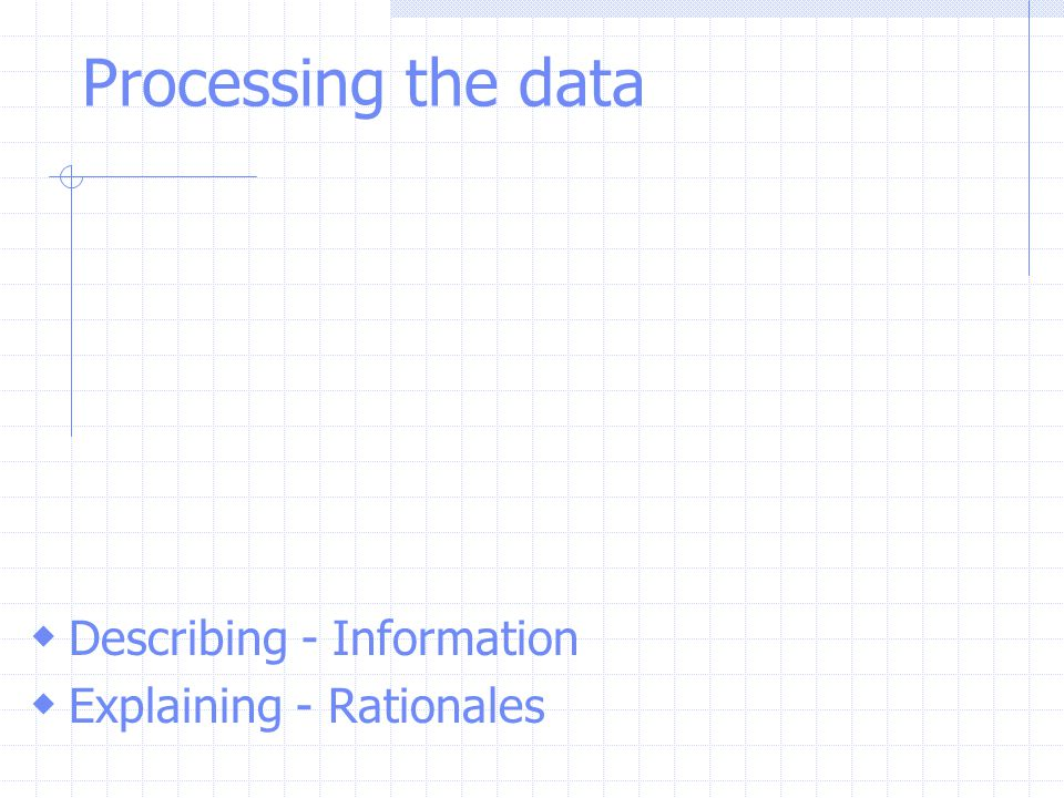 Processing the data Describing - Information Explaining - Rationales