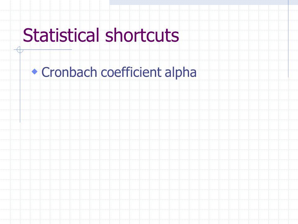 Statistical shortcuts