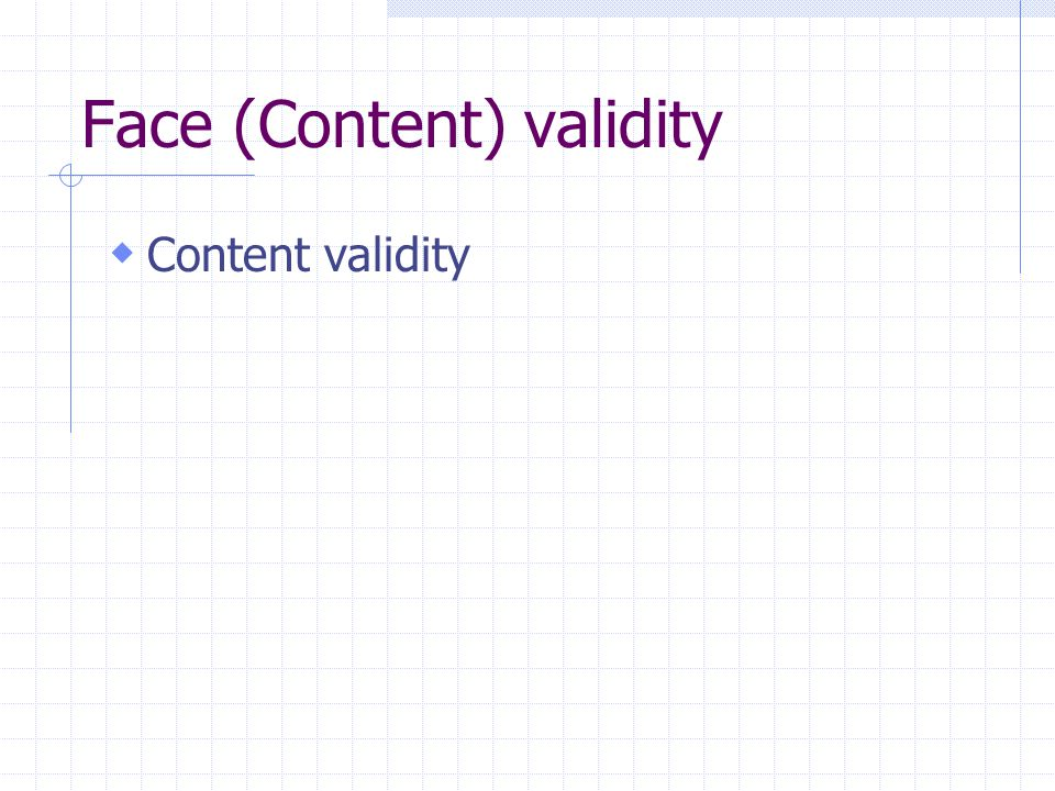 Face (Content) validity