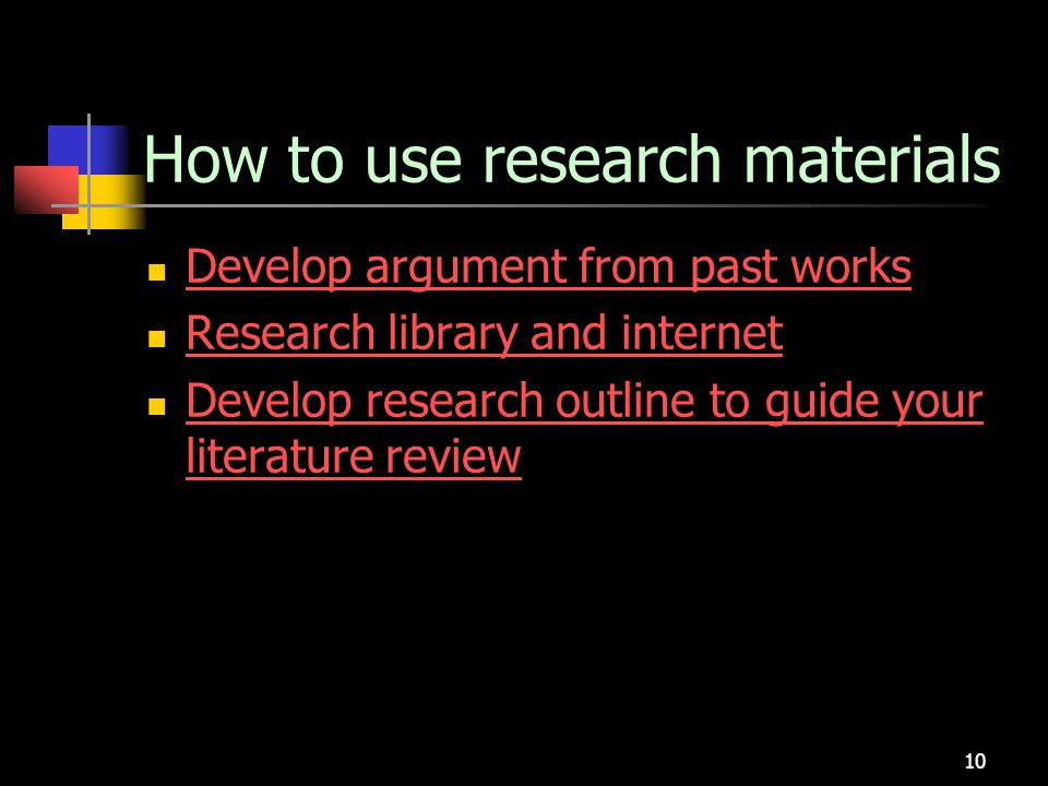 How to use research materials