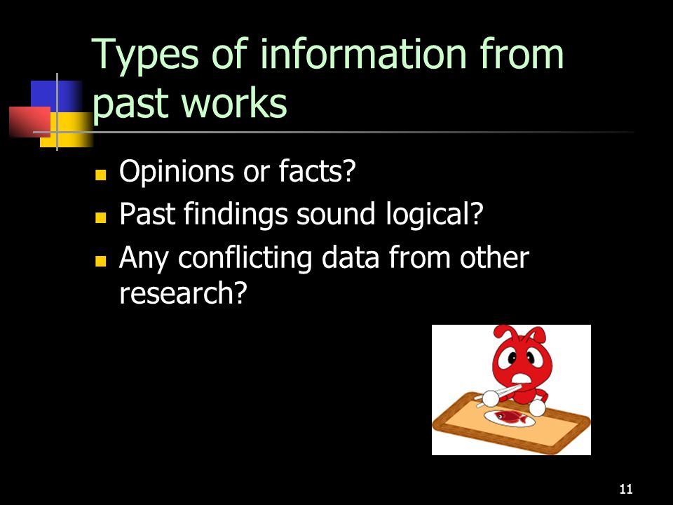 Types of information from past works