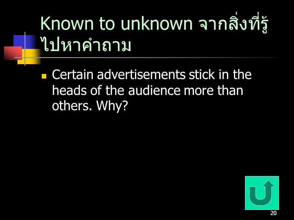 Known to unknown จากสิ่งที่รู้ไปหาคำถาม