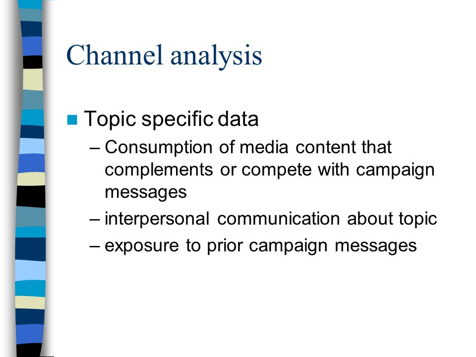 Channel analysis Topic specific data