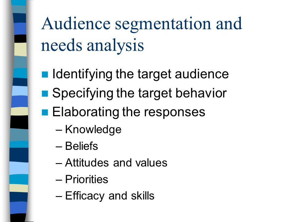 Audience segmentation and needs analysis