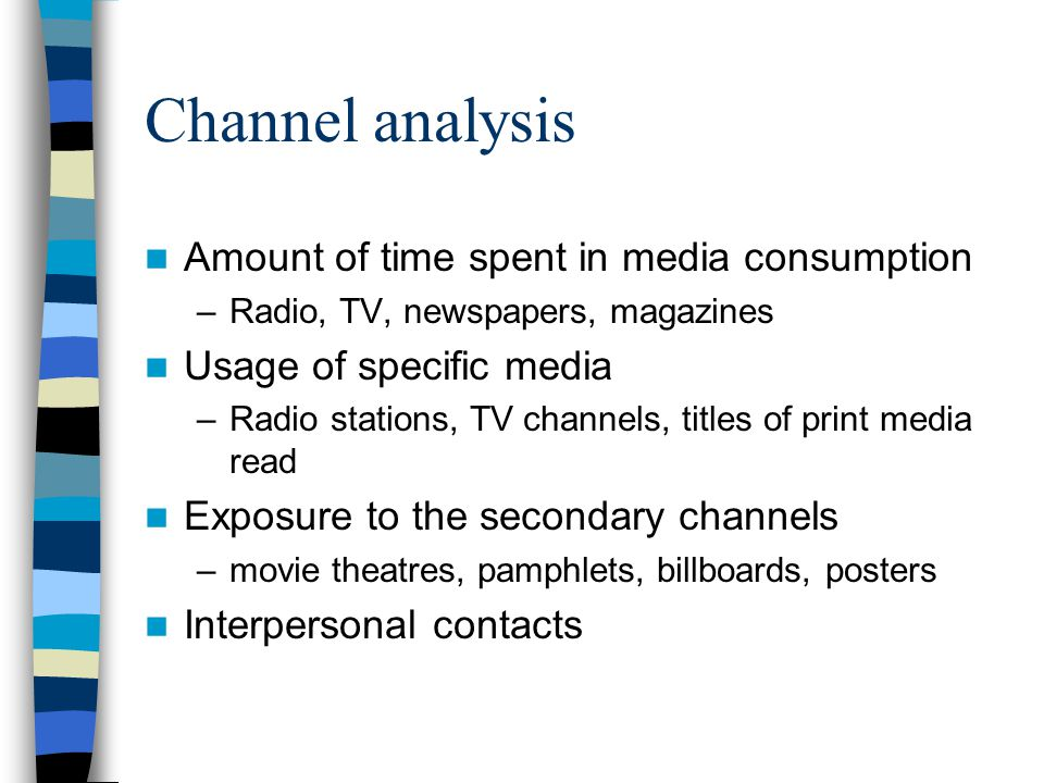 Channel analysis Amount of time spent in media consumption