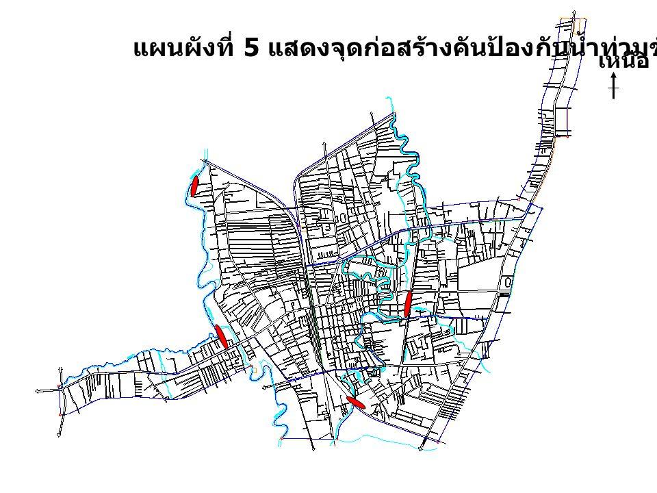 แผนผังที่ 5 แสดงจุดก่อสร้างคันป้องกันน้ำท่วมชั่วคราว