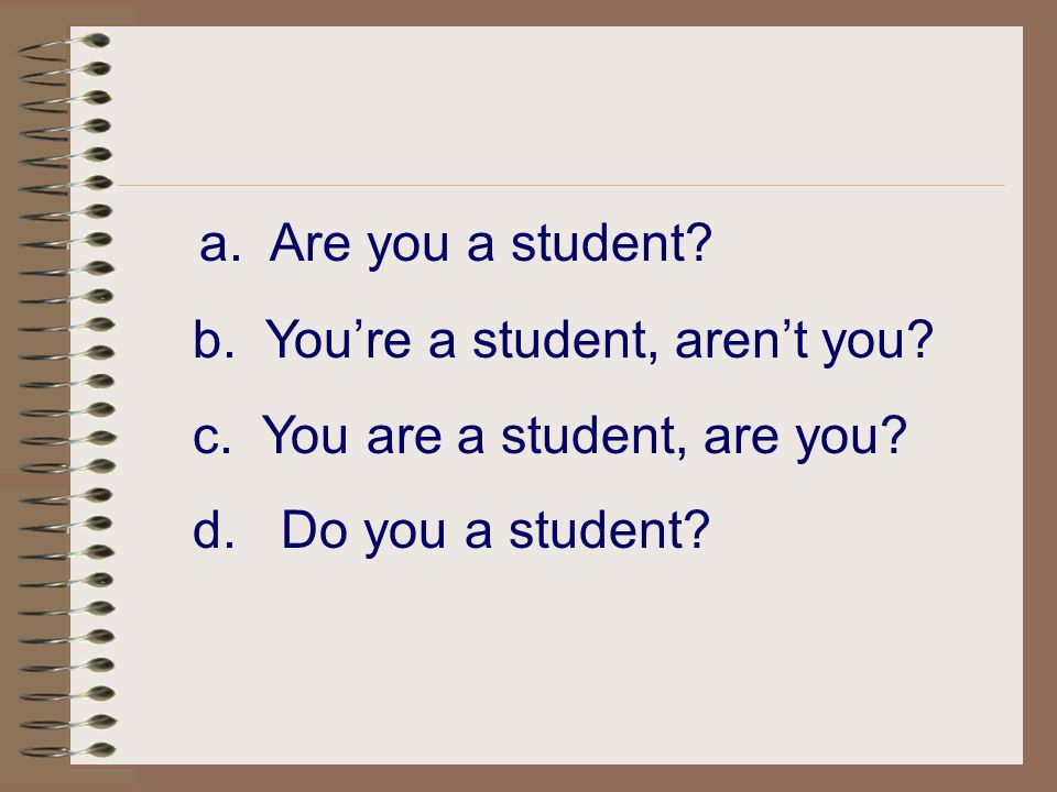 a. Are you a student b. You're a student, aren't you
