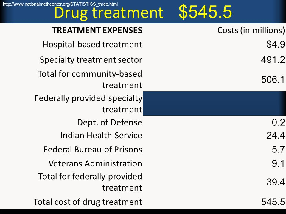 Drug treatment $545.5 TREATMENT EXPENSES Costs (in millions)