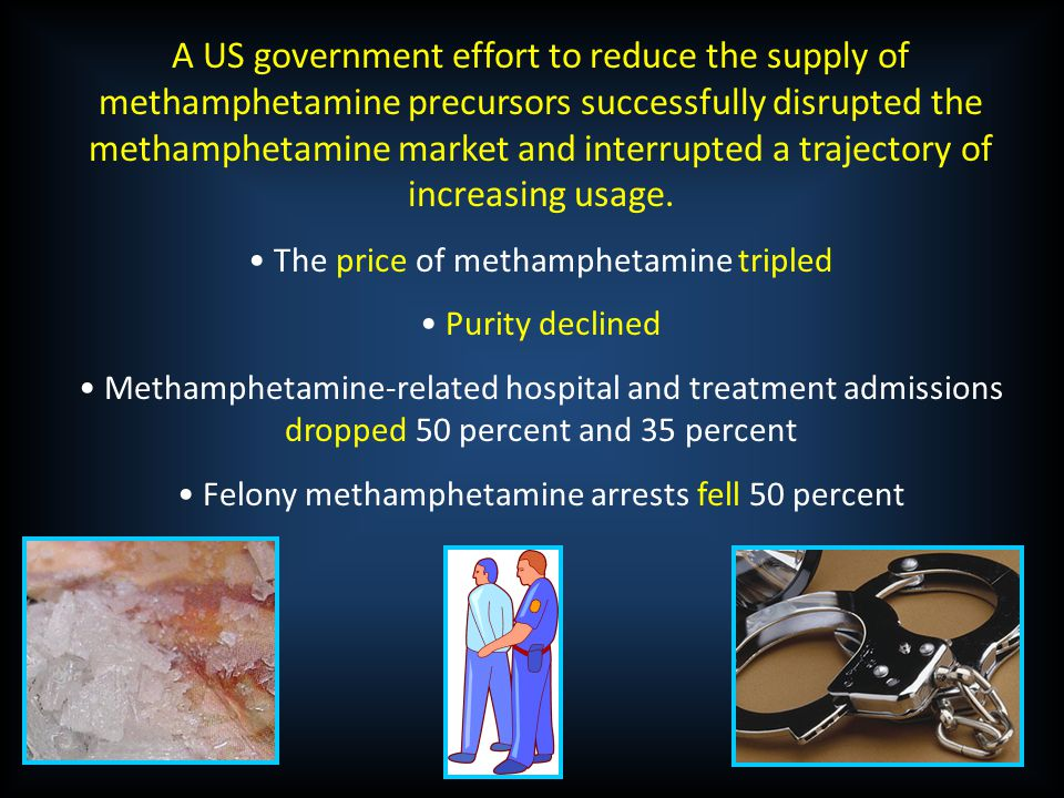 A US government effort to reduce the supply of methamphetamine precursors successfully disrupted the methamphetamine market and interrupted a trajectory of increasing usage.