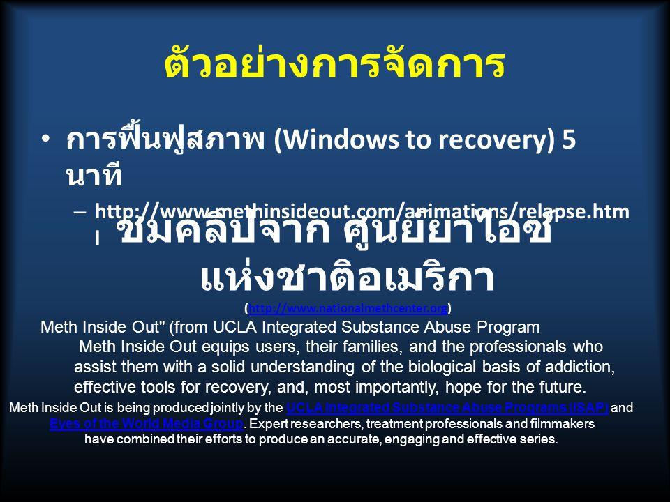 ตัวอย่างการจัดการ การฟื้นฟูสภาพ (Windows to recovery) 5 นาที http://www.methinsideout.com/animations/relapse.html.