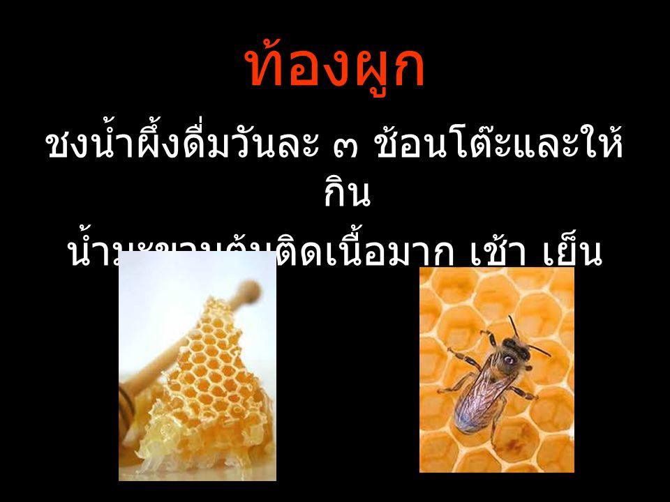 ท้องผูก ชงน้ำผึ้งดื่มวันละ ๓ ช้อนโต๊ะและให้กิน