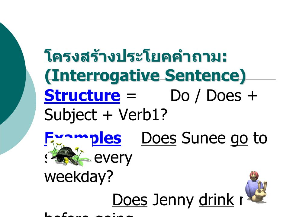 โครงสร้างประโยคคำถาม: (Interrogative Sentence)