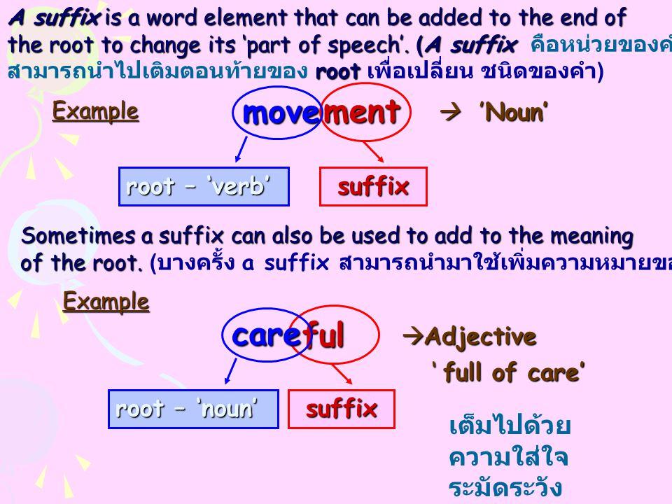 move ment care ful เต็มไปด้วยความใส่ใจ ระมัดระวัง root – 'verb' suffix