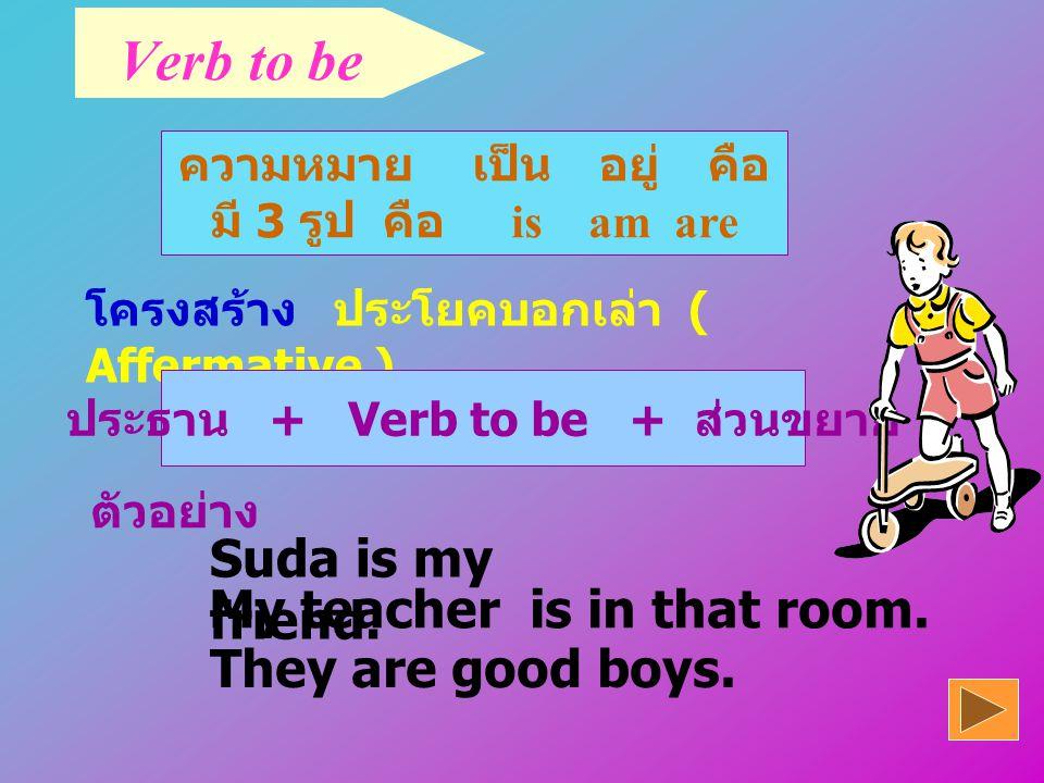 ประธาน + Verb to be + ส่วนขยาย
