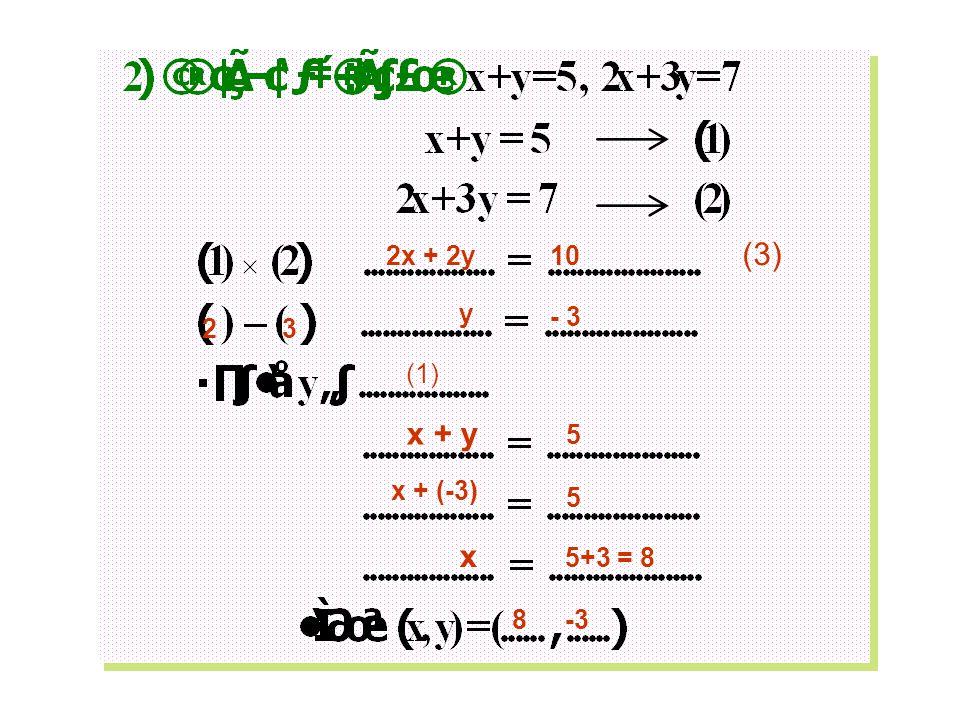 2x + 2y 10 (3) - 3 y 2 3 (1) x + y 5 x + (-3) 5 x 5+3 = 8 8 -3