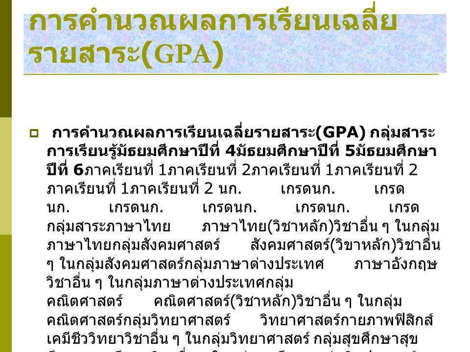 การคำนวณผลการเรียนเฉลี่ยรายสาระ(GPA)