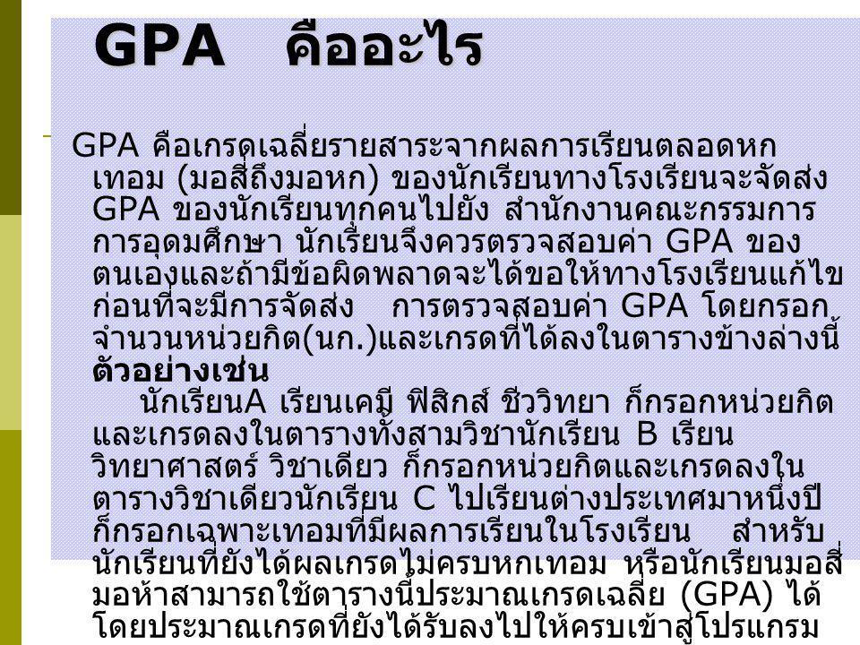 GPA คืออะไร