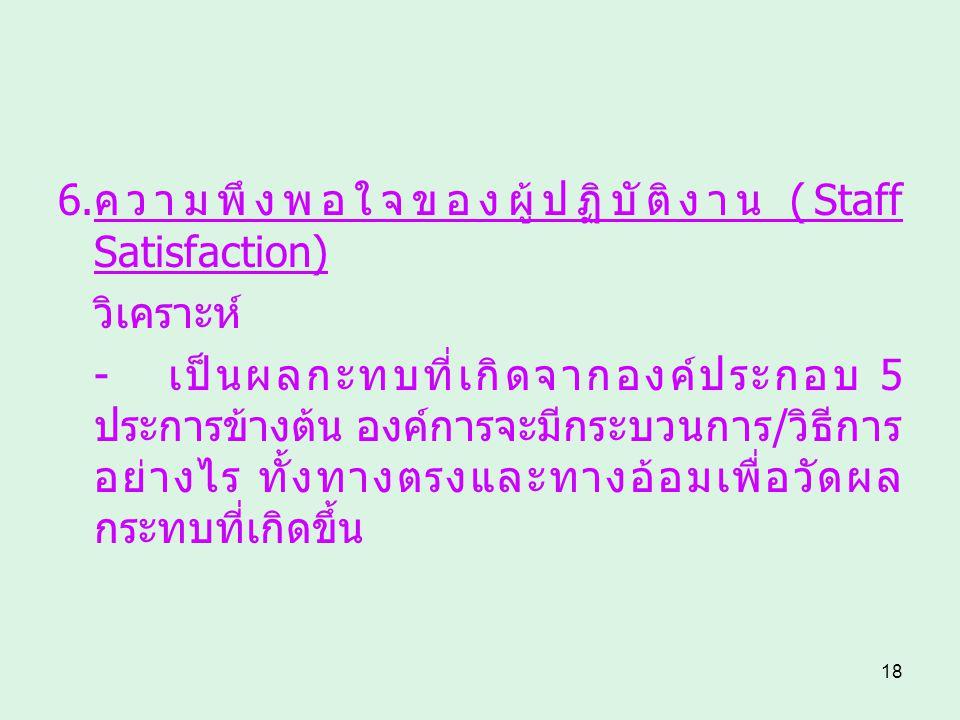 6.ความพึงพอใจของผู้ปฏิบัติงาน (Staff Satisfaction)