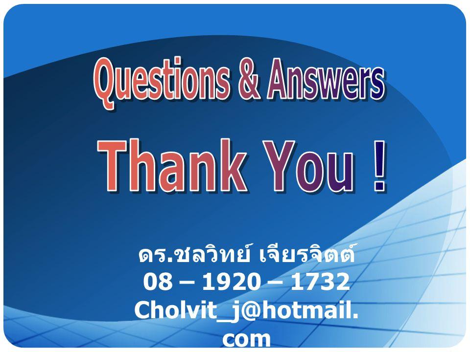 Questions & Answers Thank You ! ดร.ชลวิทย์ เจียรจิตต์ 08 – 1920 – 1732