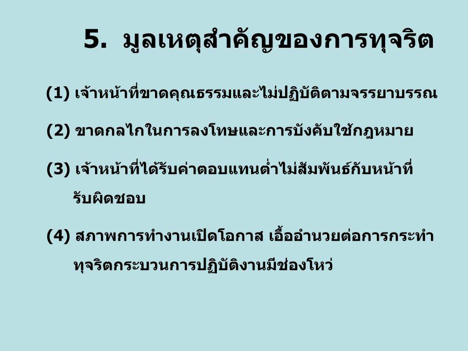 5. มูลเหตุสำคัญของการทุจริต