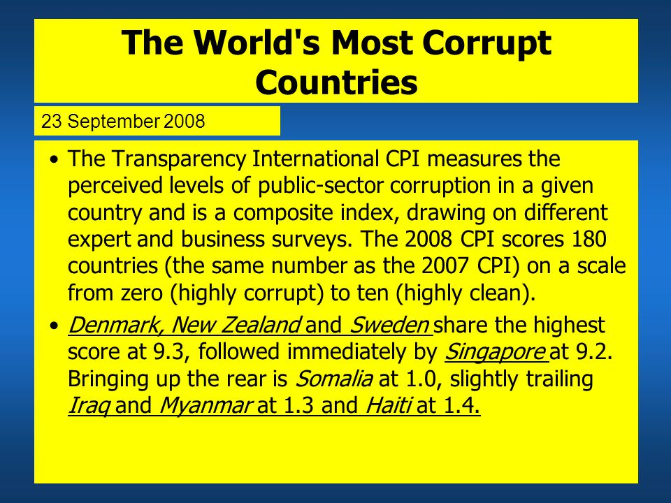 The World s Most Corrupt Countries