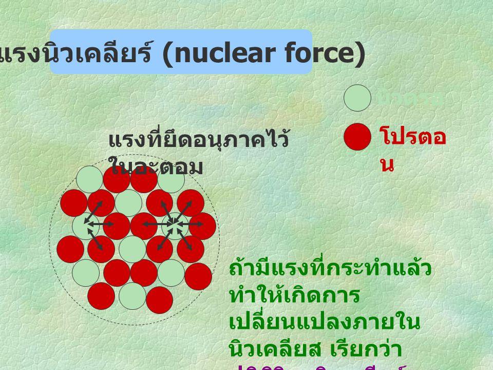 แรงนิวเคลียร์ (nuclear force)