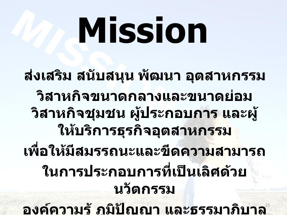 Mission ส่งเสริม สนับสนุน พัฒนา อุตสาหกรรม