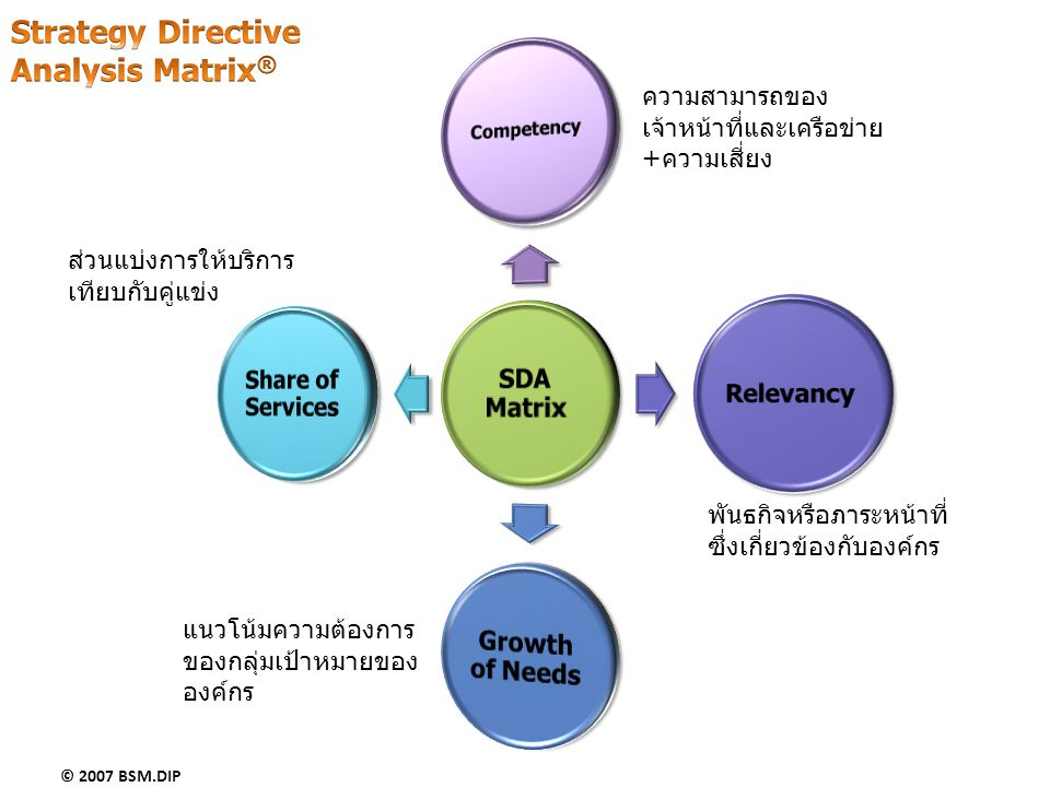 Strategy Directive Analysis Matrix® Share of Services Growth of Needs