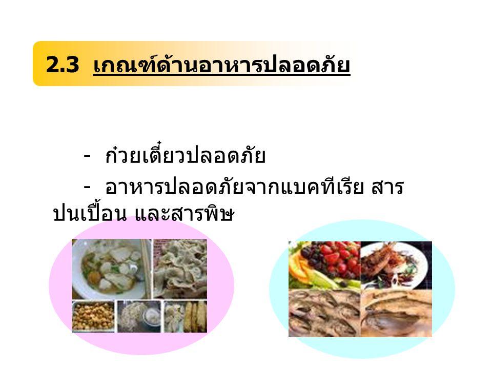 2.3 เกณฑ์ด้านอาหารปลอดภัย
