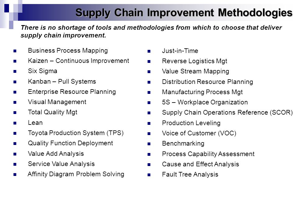 Supply Chain Improvement Methodologies