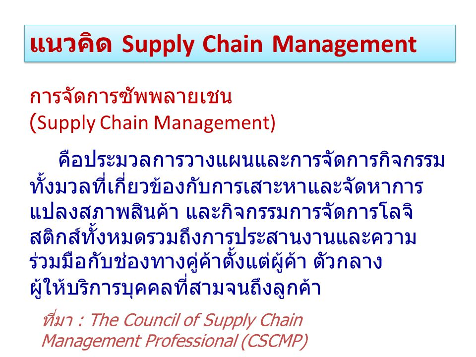 แนวคิด Supply Chain Management