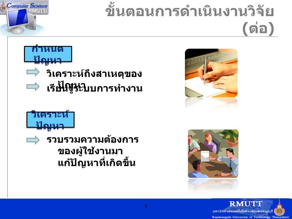 ขั้นตอนการดำเนินงานวิจัย (ต่อ)