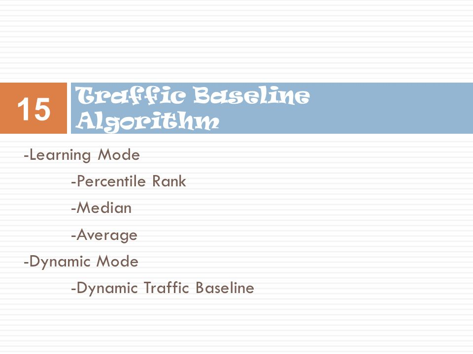 Traffic Baseline Algorithm