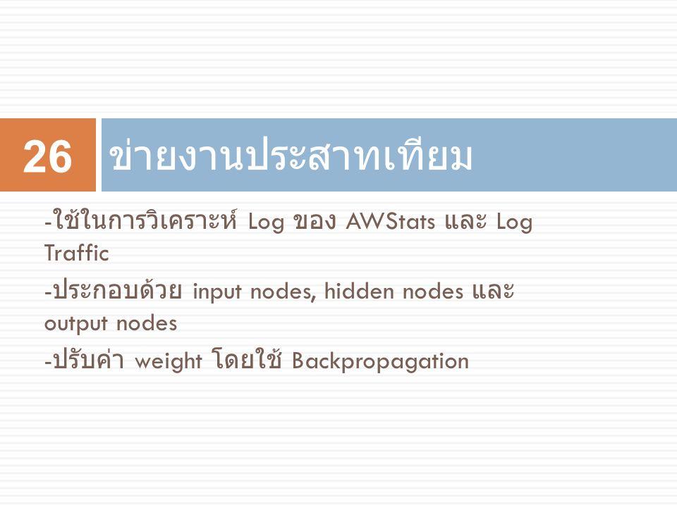 ข่ายงานประสาทเทียม -ใช้ในการวิเคราะห์ Log ของ AWStats และ Log Traffic