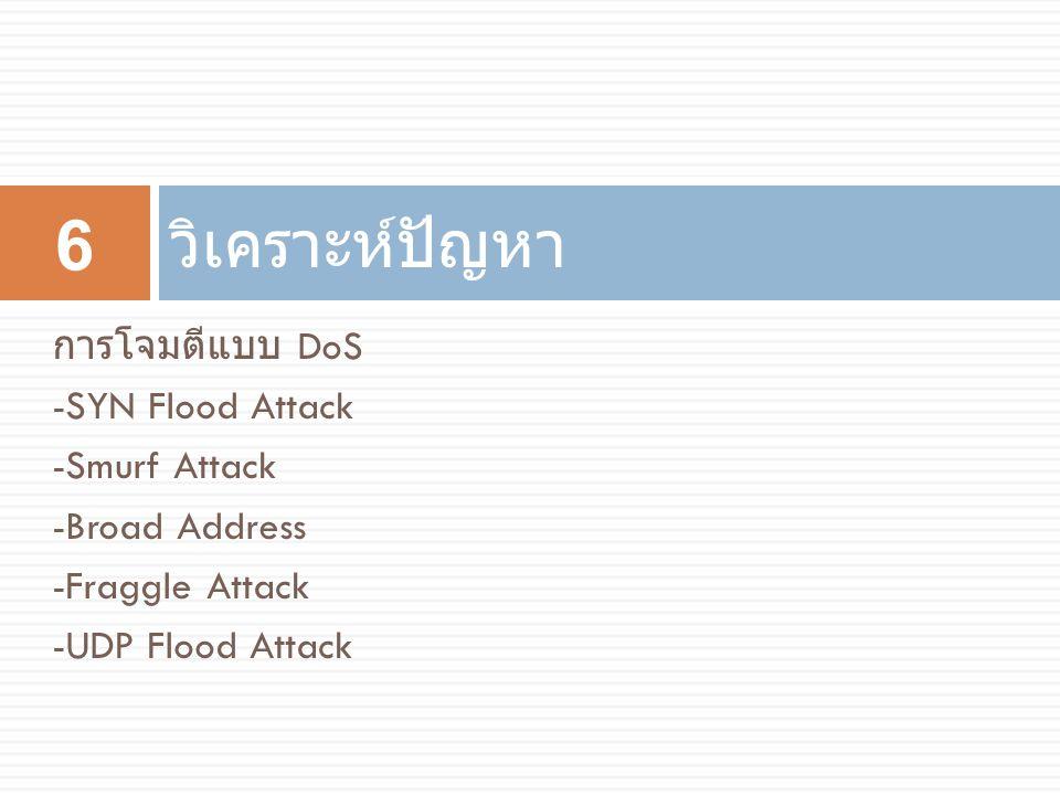 วิเคราะห์ปัญหา การโจมตีแบบ DoS -SYN Flood Attack -Smurf Attack