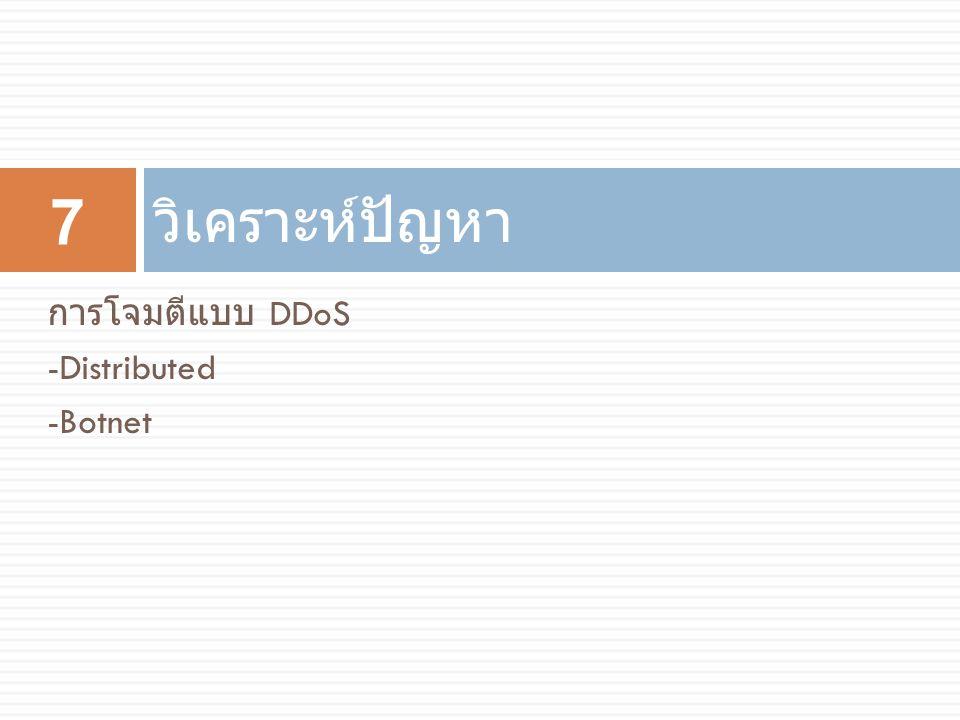วิเคราะห์ปัญหา การโจมตีแบบ DDoS -Distributed -Botnet
