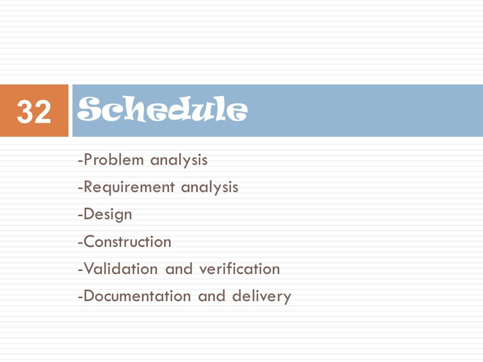 Schedule -Problem analysis -Requirement analysis -Design -Construction