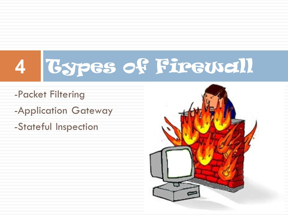 Types of Firewall -Packet Filtering -Application Gateway