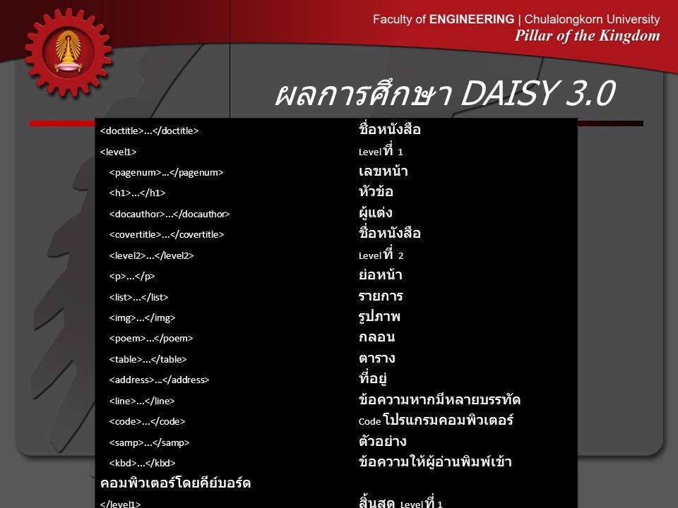 ผลการศึกษา DAISY 3.0 <doctitle>...</doctitle> ชื่อหนังสือ