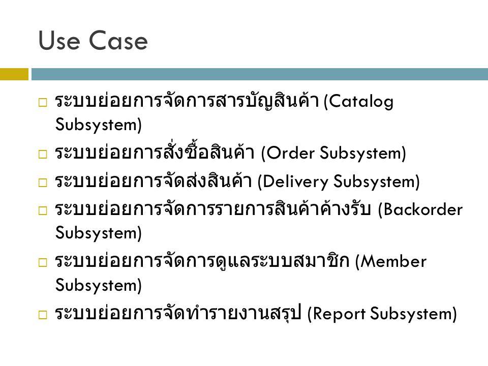 Use Case ระบบย่อยการจัดการสารบัญสินค้า (Catalog Subsystem)