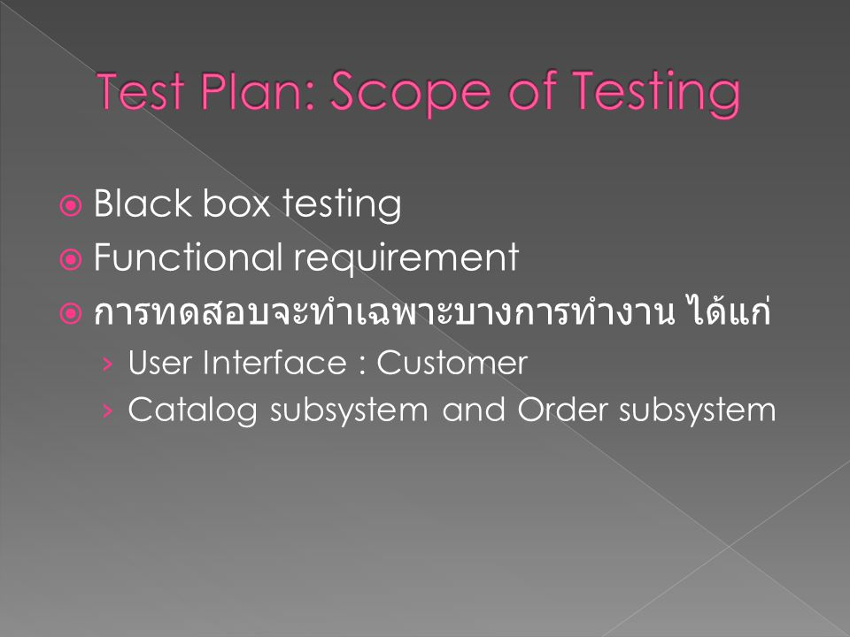 Test Plan: Scope of Testing