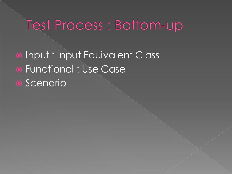 Test Process : Bottom-up